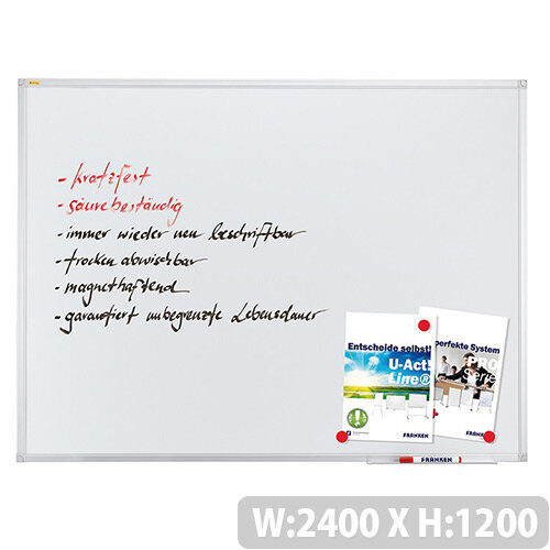 Franken ValueLine Magnetic Whiteboard Enamel Surface 2400x1200mm SC3206