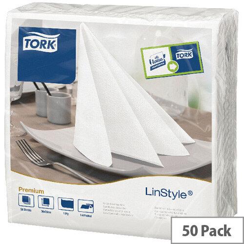 Tork LinStyle Dinner Linen Style Napkins 4 Fold Tissue 390x390mm White Pack 50