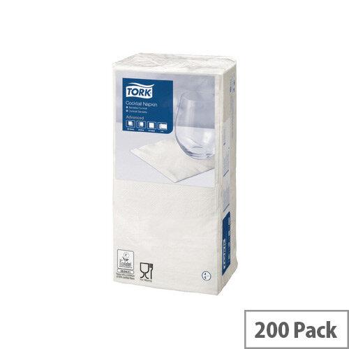 Tork Cocktail Paper Napkins 2 Ply Tissue 240x238mm White Pack 200