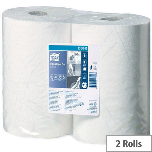 Tork Dispenser Wiping Plus Paper Cleaning White 750 Sheets 255m (Pack of 2) 130041