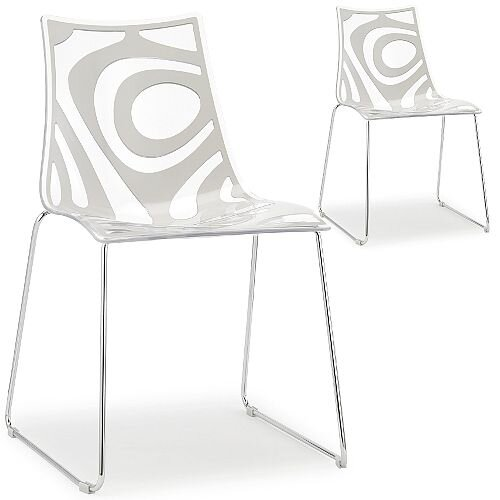 Wave Chrome Sled Base Canteen &Breakout Chair Translucent &Linen White Set of 2