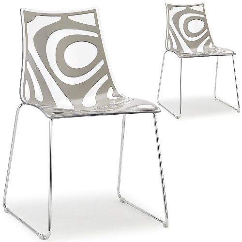 Wave Chrome Sled Base Canteen &Breakout Chair Translucent &Sand Set of 2