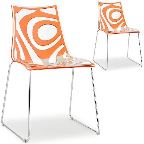 Wave Chrome Sled Base Canteen &Breakout Chair Translucent &Orange Set of 2