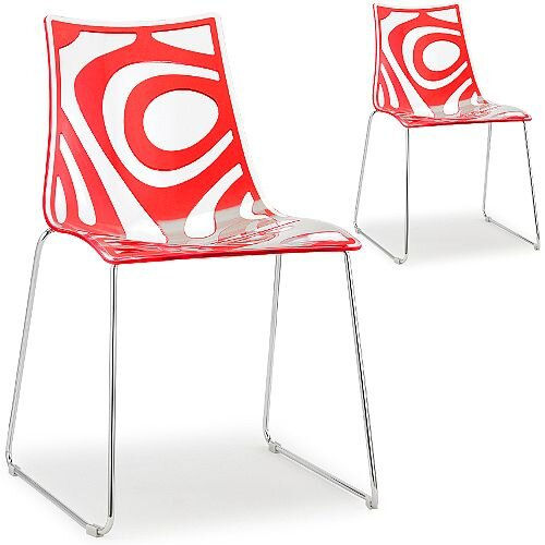 Wave Chrome Sled Base Canteen &Breakout Chair Translucent &Red Set of 2