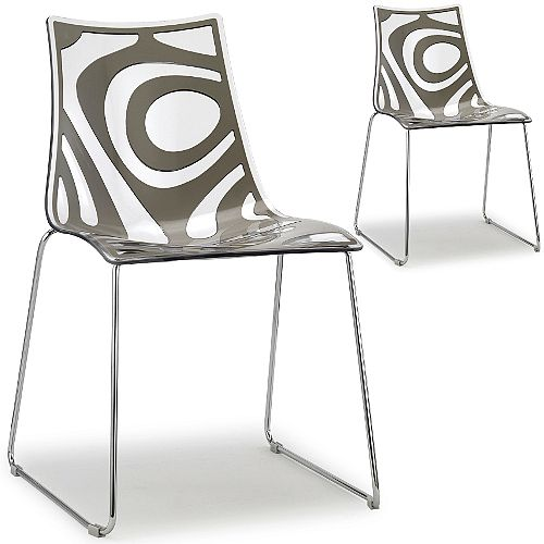 Wave Chrome Sled Base Canteen &Breakout Chair Translucent &Anthracite Set of 2