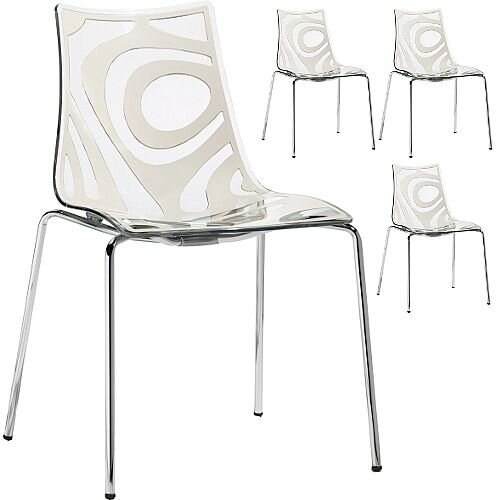 Wave Chrome Leg Canteen &Breakout Stacking Chair Translucent &Linen White Set of 4