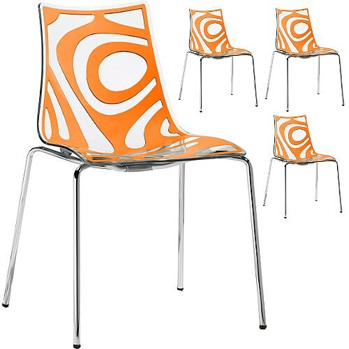 Wave Chrome Leg Canteen &Breakout Stacking Chair Translucent &Orange Set of 4