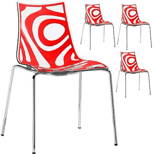 Wave Chrome Leg Canteen &Breakout Stacking Chair Translucent &Red Set of 4