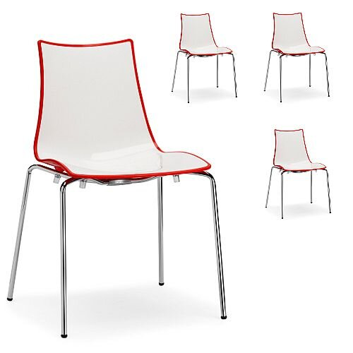 Zebra Bicolore Chrome Leg High Gloss Stacking Canteen Chair White/Red Set Of 4