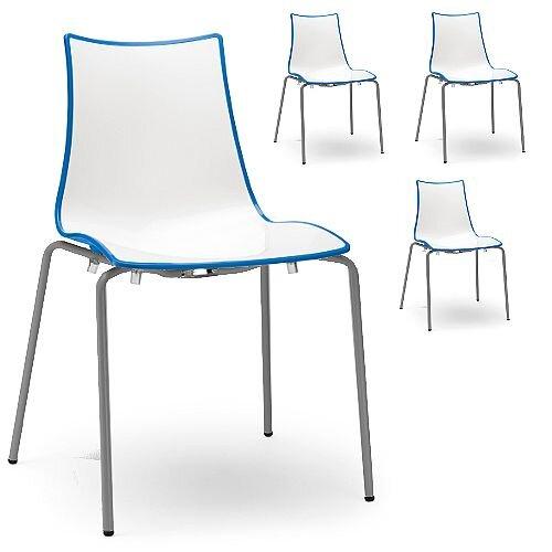 Zebra Bicolore Anthracite Leg Outdoor High Gloss Stacking Chair White/Cornflower Blue Set Of 4