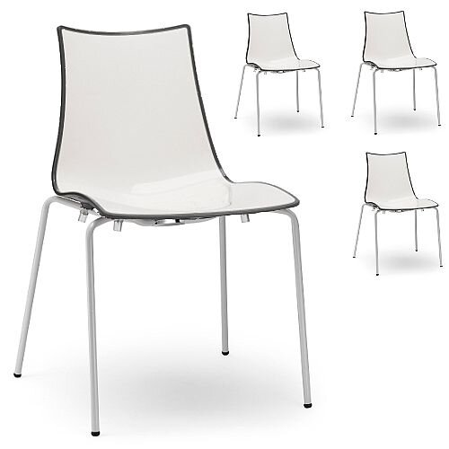 Zebra Bicolore White Leg Outdoor High Gloss Stacking Chair White/Anthracite Set Of 4
