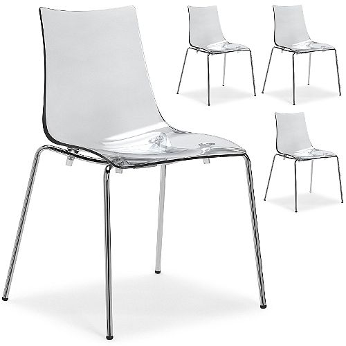 Zebra Antishock Chrome Leg Canteen &Breakout Stacking Chair Transparent Set of 4