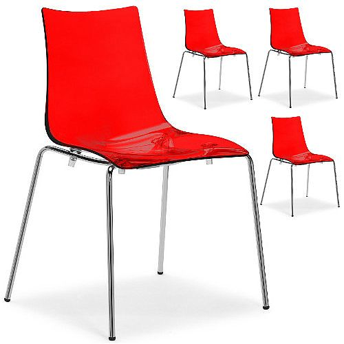 Zebra Antishock Chrome Leg Canteen &Breakout Stacking Chair Translucent Red Set of 4
