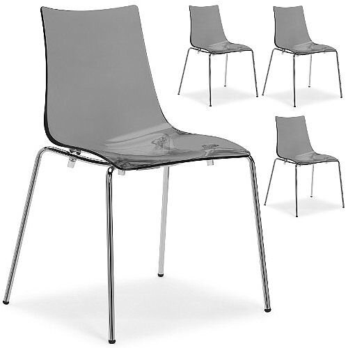 Zebra Antishock Chrome Leg Canteen &Breakout Stacking Chair Translucent Smoked Grey Set of 4