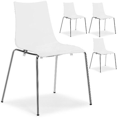 Zebra Antishock Chrome Leg Canteen &Breakout Stacking Chair Glossy White Set of 4