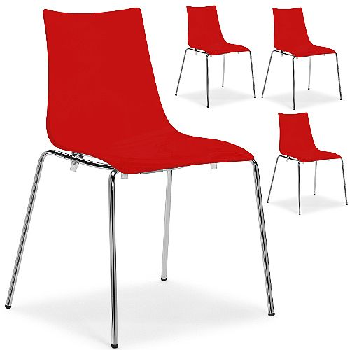 Zebra Antishock Chrome Leg Canteen &Breakout Stacking Chair Glossy Red Set of 4