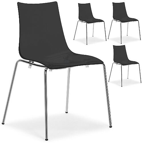 Zebra Antishock Chrome Leg Canteen &Breakout Stacking Chair Glossy Black Set of 4