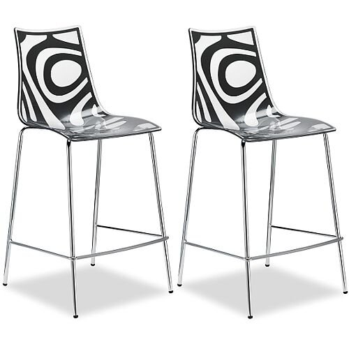 Wave Bar Stool With H650mm Chrome Base Translucent &Anthracite Set of 2