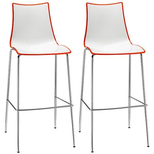 Zebra Bicolore Bar Stool With H800mm Chrome Base White/Orange Set of 2