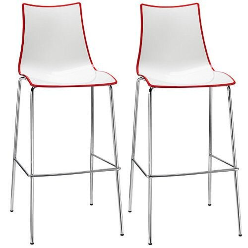 Zebra Bicolore Bar Stool With H800mm Chrome Base White/Red Set of 2
