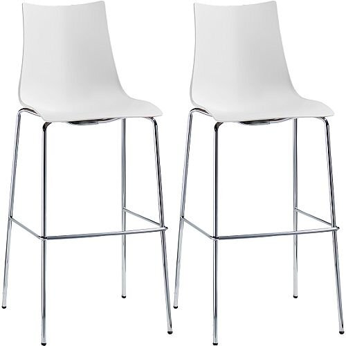 Zebra Technopolymer Bar Stool with H800mm Chrome Base Set of 2 Linen White