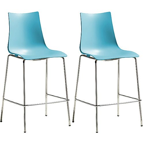 Zebra Technopolymer Bar Stool with H650mm Chrome Base Set of 2 Light Blue