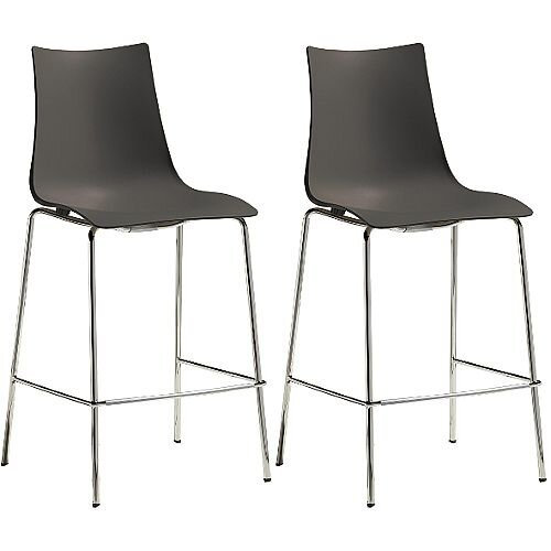 Zebra Technopolymer Bar Stool with H650mm Chrome Base Set of 2 Anthracite