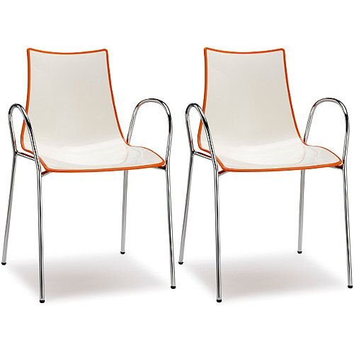 Zebra Bicolore Chrome Leg High Gloss Stacking Canteen Chair With Arms White/Orange Set Of 2