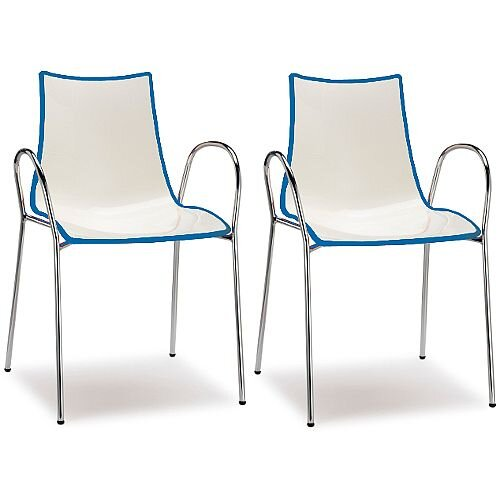 Zebra Bicolore Chrome Leg High Gloss Stacking Canteen Chair With Arms White/Cornflower Blue Set Of 2