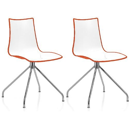 Zebra Bicolore High Gloss Canteen Chair With Chrome Trestle Base White/Orange Set Of 2