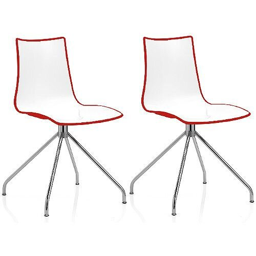 Zebra Bicolore High Gloss Canteen Chair With Chrome Trestle Base White/Red Set Of 2