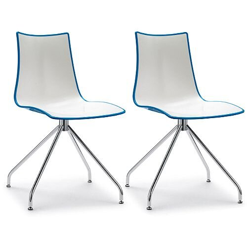 Zebra Bicolore High Gloss Canteen Chair With Chrome Trestle Base White/Cornflower Blue Set Of 2