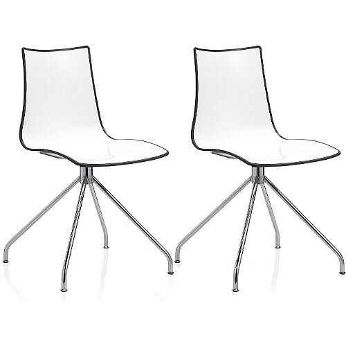 Zebra Bicolore High Gloss Canteen Chair With Chrome Trestle Base White/Anthracite Set Of 2