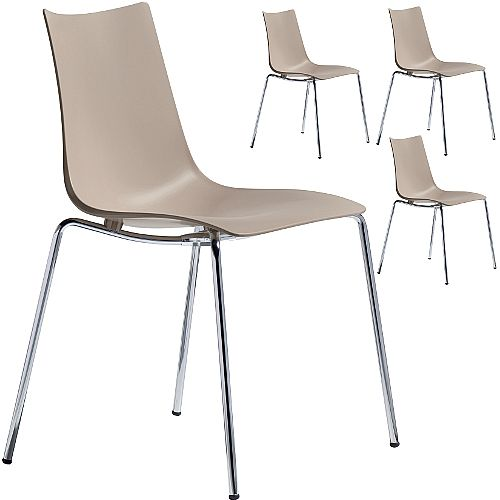 Zebra Technopolymer Chrome Leg Canteen &Breakout Stacking Chair Dove Grey Set of 4