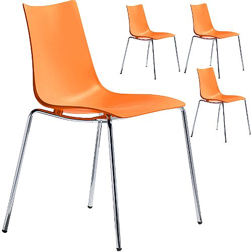 Zebra Technopolymer Chrome Leg Canteen &Breakout Stacking Chair Orange Set of 4