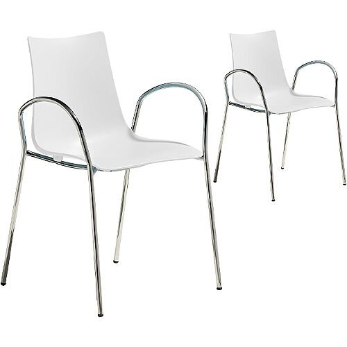 Zebra Technopolymer Canteen &Breakout Chrome Leg Chair with Arms Set of 2 Linen White