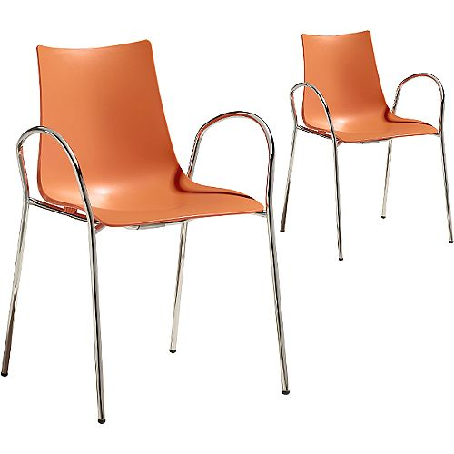 Zebra Technopolymer Canteen &Breakout Chrome Leg Chair with Arms Set of 2 Orange