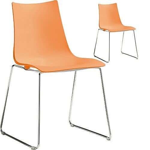 Zebra Technopolymer Chrome Sled Base Canteen &Breakout Chair Orange Set of 2