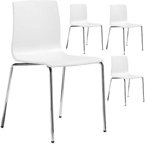 Alice Chrome Leg Canteen &Breakout Stacking Chair Set of 4 Linen White