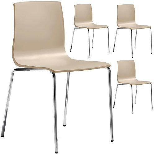 Alice Chrome Leg Canteen &Breakout Stacking Chair Set of 4 Dove Grey
