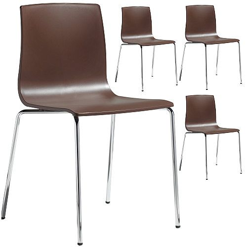 Alice Chrome Leg Canteen &Breakout Stacking Chair Set of 4 Cocoa Brown