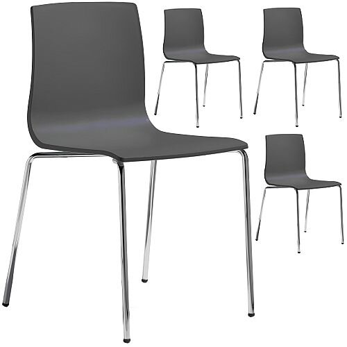 Alice Chrome Leg Canteen &Breakout Stacking Chair Set of 4 Anthracite