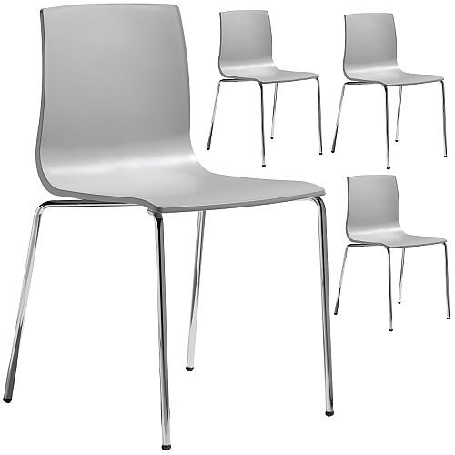 Alice Chrome Leg Canteen &Breakout Stacking Chair Set of 4 Light Grey