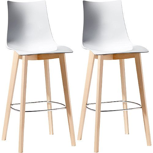 Natural Zebra Antishock Canteen &Breakout Wooden Leg Barstool Glossy White Set of 2