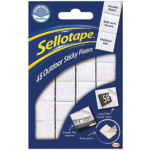 Sellotape Sticky Fixers Outdoor Pack of 48 20x20mm 484329
