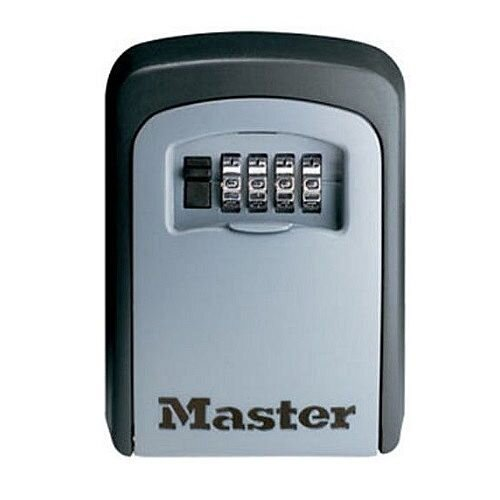 Master Lock 5 Key Safe With 4-Digit Combination Lock in Silver/Black – Zinc Construction, Lifetime Warranty, Fixing Kit, Wall-Mountable &Vinyl Coated Shackle (5401D)
