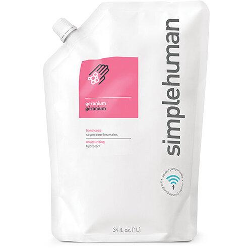 Simplehuman 1 Litre Soap Dispenser Refill Pouch, Moisturising Liquid Soap Geranium CT1018