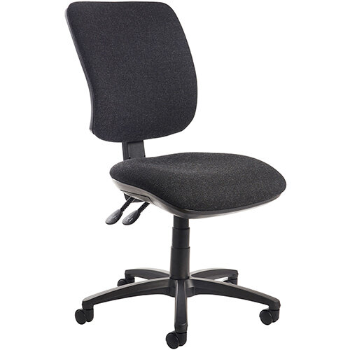 Senza high back operator chair with no arms - charcoal