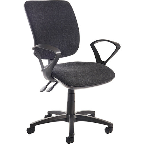 Senza high back operator chair with fixed arms - charcoal