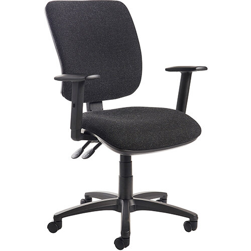 Senza high back operator chair with adjustable arms - charcoal